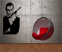 007 James Bond With Gun- Vinyl Wall Art Decal Sticker New 2014 Removable Wall decals Wall Decor Size 100*50cm