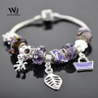 DIY jewelry 2014 new fashion Style Glass Beads Silver leave Charm Bracelets for Women bracelet with CZ crystal WPA0836