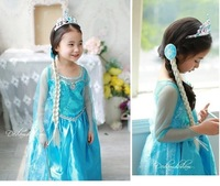 2014 Free Shipping Frozen Princess Elsa Dress Cosplay Costume Movie Elsa Costume For Kids/girls CXCC-8624