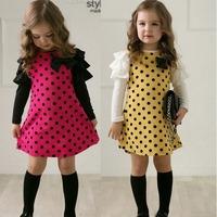 Free shipping! 2014 New Girls Dress Spring Autumn Children's clothing cute Dot long sleeve girls princess dress
