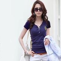 New 2014   female spring and summer basic short-sleeve t-shirt female women's V-neck shirt clothes
