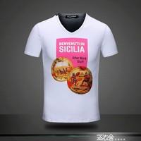 2014 100% male short-sleeve cotton round neck man t-shirt T-shirt /3Color:Black,white,gray/SIze:M,L,XL,XXL