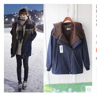 2014 New Fashion Korean Women Long Sleeve Thicken Fleece Hooded Parka Lady Winter Coat Jacket Outwear Plus Size  S M L