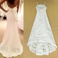 Long Evening Dress 2014 Sleeveless Back Sheer Floor-Length White Formal Mermaid Lace Evening Dresses robe de soiree