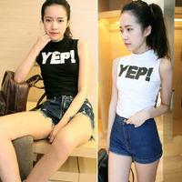 2014 summer vintage slim women's bare midriff short-sleeve t shirt vest sleeveless short design t-shirt female top
