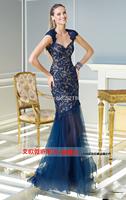 New 2014 blue fishtail mother of the bride lace dresses for weddings mermaid vestido de festa longo vestidos femininos sexy