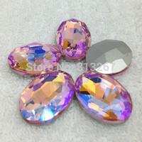 10x14mm 13x18mm 18x25mm 20x30mm Pink AB Color Oval Round Poinback Crystal Fancy Stone