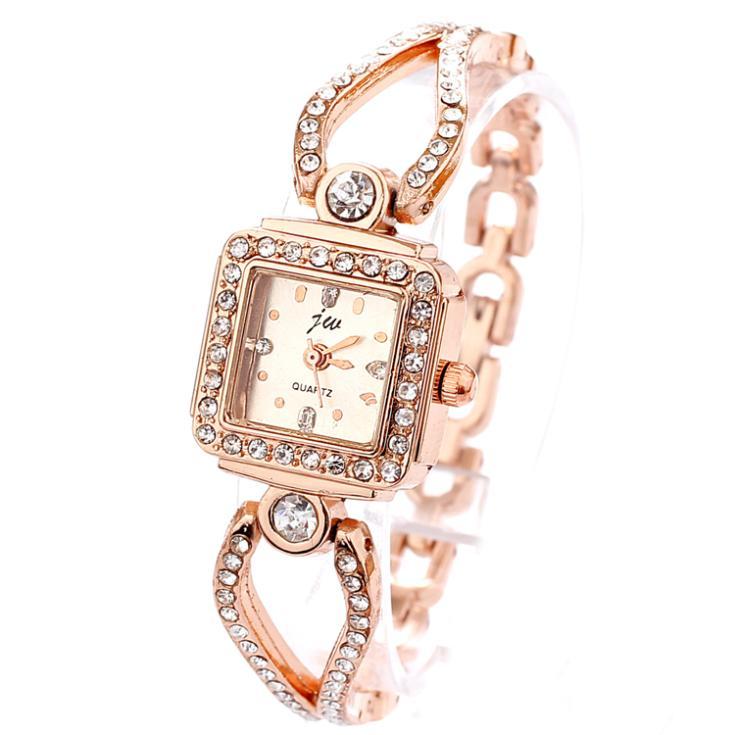 Women Wristwatches Quartz Watch Rose Gold Fashion Luxury Charm Bracelet Chain Rhinestone Dropship Ladies Dress Women Watches(China (Mainland))