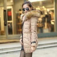 2014 Winter Parka Jacket Women Napka Slim Long Women Down Winter Coat Fur Hood Solid Color Thick Down Jacket Plus Size  CS501
