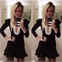 2014 Long Sleeve Black Mini Short Pearls Backless Prom Dresses Party Dress Gowns Vestidos De Fiesta