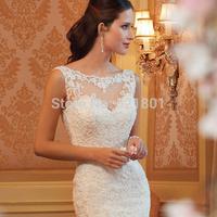 Sexy lace trailing bride wedding dress new mermaid wedding dresses vestido de noiva 2014 fashionable wedding gown real photo