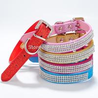 Wholesale 10pcs/lot Pet Collar Sparkly Four Rows Rhinestones Dog or Cat Collar