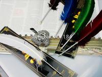 European fresh colors ' Harry potter ' quill ball point pen  turkey fur metal pen-holder
