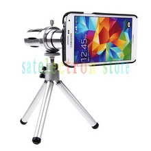 Optical Zoom 12X Telescope Phone Camera Lens + Mini Tripod + Hard Case for Samsung Galaxy S5 V i9600 (No Box), FREE SHIPPING(China (Mainland))