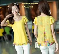 Shirt Women Chiffon Floral Boulse Blusas Femininas 2014 Plus Size Women Tops Clothing Lady's Printed Pink Casual Blouse YS8426