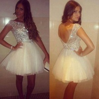 Vestido De Festa Real Made Luxury Beaded A-line Cocktail Party Dresses Custom made Tulle Cap Sleeve Short prom dresses