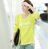 Korean fashion wide Songlei Si mosaic 3D flowers round neck sweater women burst version of the original single ladies