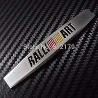 Car Trunk Chrome Badge Emblem Side Sticker Metal RALLIART for MITSUBISHI Silver