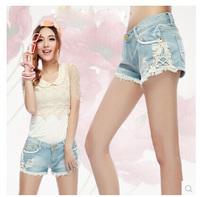 New Arrivel Hot Pants Vintage Lace Shorts Women Jeans Denim Shorts Casual Shorts Femininos 2014 Light Blue YS8427