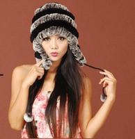 Women Genuine Rex Rabbit Fur Hat Knitted Rabbit Fur Cap Real Rabbit Fur Headwear Winter warm Hat free shipping TPHR0006