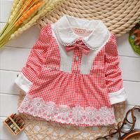 T808 New 2014 Spring Autumn Children Long Sleeved Lace Sweep Dresses, Infantis Baby Girl Plaids A-Line Princess Dress  F1