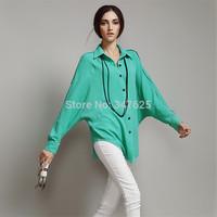 women's autumn chiffon blouse shirts fashion women work wear blusas femininas 2014 long batwing sleeve irregular hem blouse