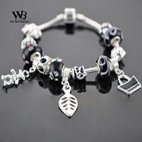 2014 new fashion love vintage Style pulseiras femininas DIY CZ crystal Glass Beads Silver Charm Bracelets Women bracelet WPA0860