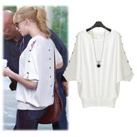 [R-314]  Free shipping 2014 spring new fashion women bat sleeve t-shirt hollow decorative buttons waist short-sleeved T-shirt