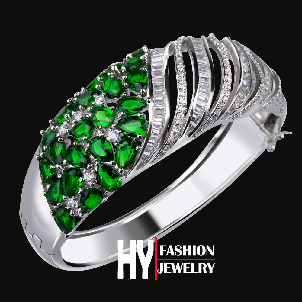 high quality real platinum plated with 232 Cubic Zircon Crystal Women Bangle Bracelet cuff Fashion Bridal Jewelry Emerald (hyb5)(China (Mainland))