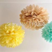 Free Shipping  5 pcs 15cm(6inches) Tissue Paper Pom Poms paper flower ball Wedding, Birthday, Baby shower, Nurseries decoration