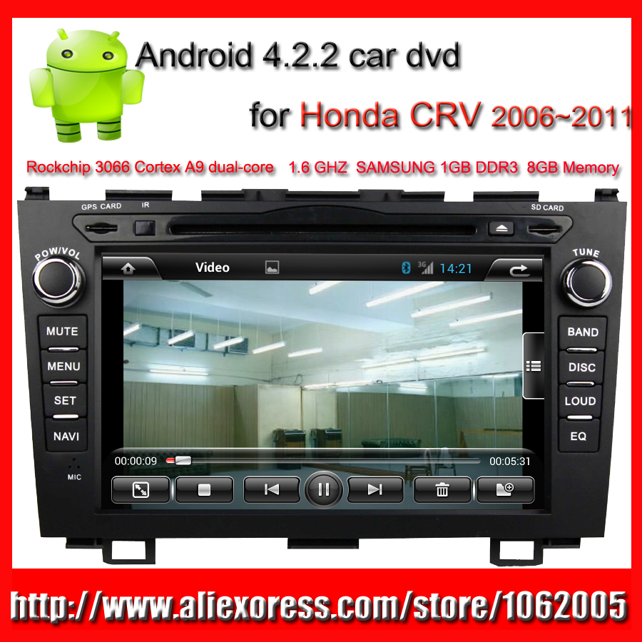 "Android car dvd player for Honda CRV 2 din car radio with GPS Navigation Bluetooth TV MP3 MP4 AUX USB SD 8"" HD Capacitive Screen(China (Mainland))"