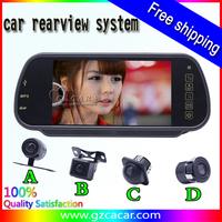 Free Shipping Universal night vision CCD car camera with 7 inch car rear mirro monitor Mp5 mp4 USB