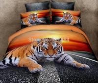 Hot Beautiful 4PC 100% COTTON COMFORTER DUVET DOONA COVER SET FULL / QUEEN / KING bedding set 4pcs animal orange tiger lion