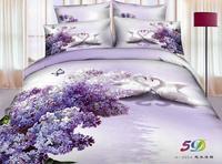Hot Beautiful 4PC 100% COTTON COMFORTER DUVET DOONA COVER SET FULL / QUEEN / KING bedding set animal white swan purple flower