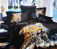 Hot Beautiful 4PC 100% COTTON COMFORTER DUVET DOONA COVER SET FULL / QUEEN / KING bedding set 4pcs animal black golden leopard