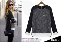 S-XL Free Shipping Fashion autumn 2013 fashion long-sleeve sweater patchwork loose chiffon shirt