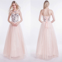 Decade Focused Pink Honorable Sexy Strapless Backless Hand-Beading Floor-Length Five Layer Back Up Lace Evening Dress 2014