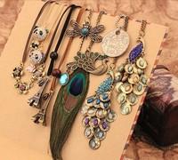 Stylish Vintage Eiffel Tower Cross Trojans Phoenix flowers sweater chain pendant necklace men women Mix order 24pcs