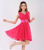 2014 New Fashion Double-shoulder V-neck Sexy Short Design Formal Dress, Chiffon Knee-length A-line Sleeveless dress. Custom made