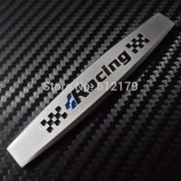 Car Trunk Chrome Badge Emblem Side Sticker Metal RACING BLACK FOR VOLKSWAGEN Silver