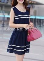 happy SZ   Vintage Lace Sleeveless Dress Navy Blue Pleated Chiffon Casual Mini Dress S M L 606
