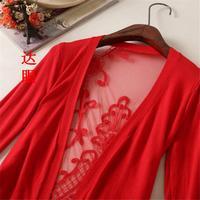 happy SZ  ing  back hollow woman cardigan thin outerwear cardigan cutout sweater coat Crochet knitted coat ks0029