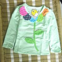 Wholesale 4pcs/lot Girls' T-shirts Children Long Sleeve Flower Tees Cute Kids Fall Wear Child Clothing