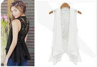 [R-362] Free shipping 2014 Summer new women Chiffon vest and long sections chiffon lace vest jacket