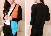 happy SZ   v-neck patchwork unlined upper garment Cardigan Sweater Casual Slim Cotton Solid Knitwear Coat ks0037