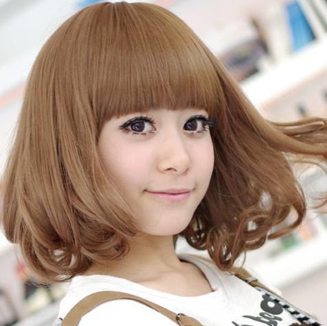 So Sweet Dark Blond Light Brown Deep Brown Girl s Short Anime Oblique Bangs hair Costume - New Hair Extensions Blond