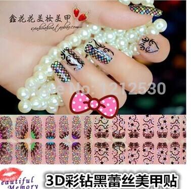 Nail Sticker 3 d diamond black lace style nail stickers Nail polish sticker(China (Mainland))