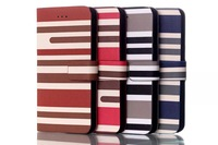 New 4 color High Quality Luxury Genuine Chromatic stripes design leather flip Case with card slot  For iPhone 6 6G Free ship