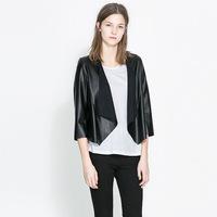 2014 Autumn Genuine Leather Jackets Women's Slim Sheepskin Coat Women's Short Design Zippers Black Leather Fashion