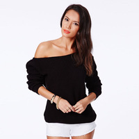 Solid color fashion sexy oblique strapless knitted sweater haoduoyi